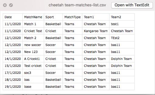 matches list