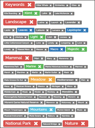 Delete or append keywords in the tag cloud for a set of items