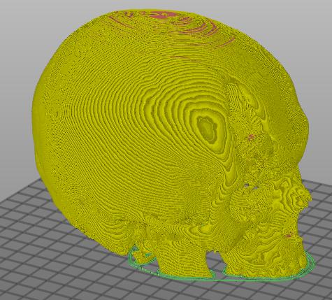 Crânio fatiado em 3D sem defeitos para impressão