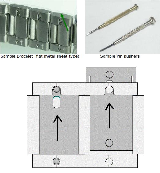 Removing bracelet pin (flat metal sheet type)