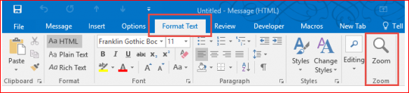 18878:-Adjusting Outlook's Zoom Setting in Email
