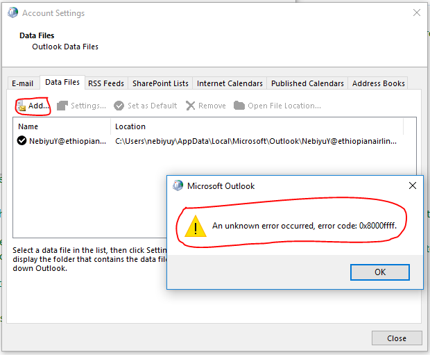 24221 /// How to Fix Outlook Unknown Error 0x8000ffff