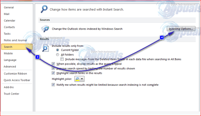 18878:-How to fix outlook search problem