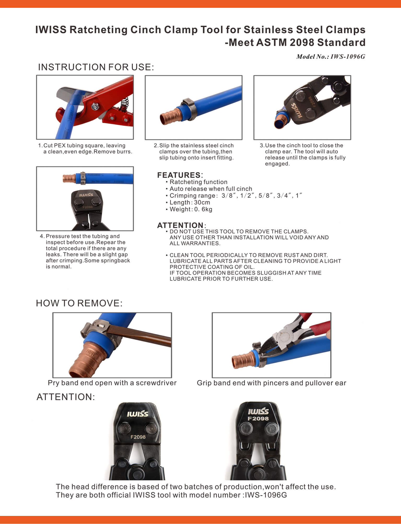 IWISS KG-1096 Retcheting Cinch Clamp Tool For Stainless Steel Clamps
