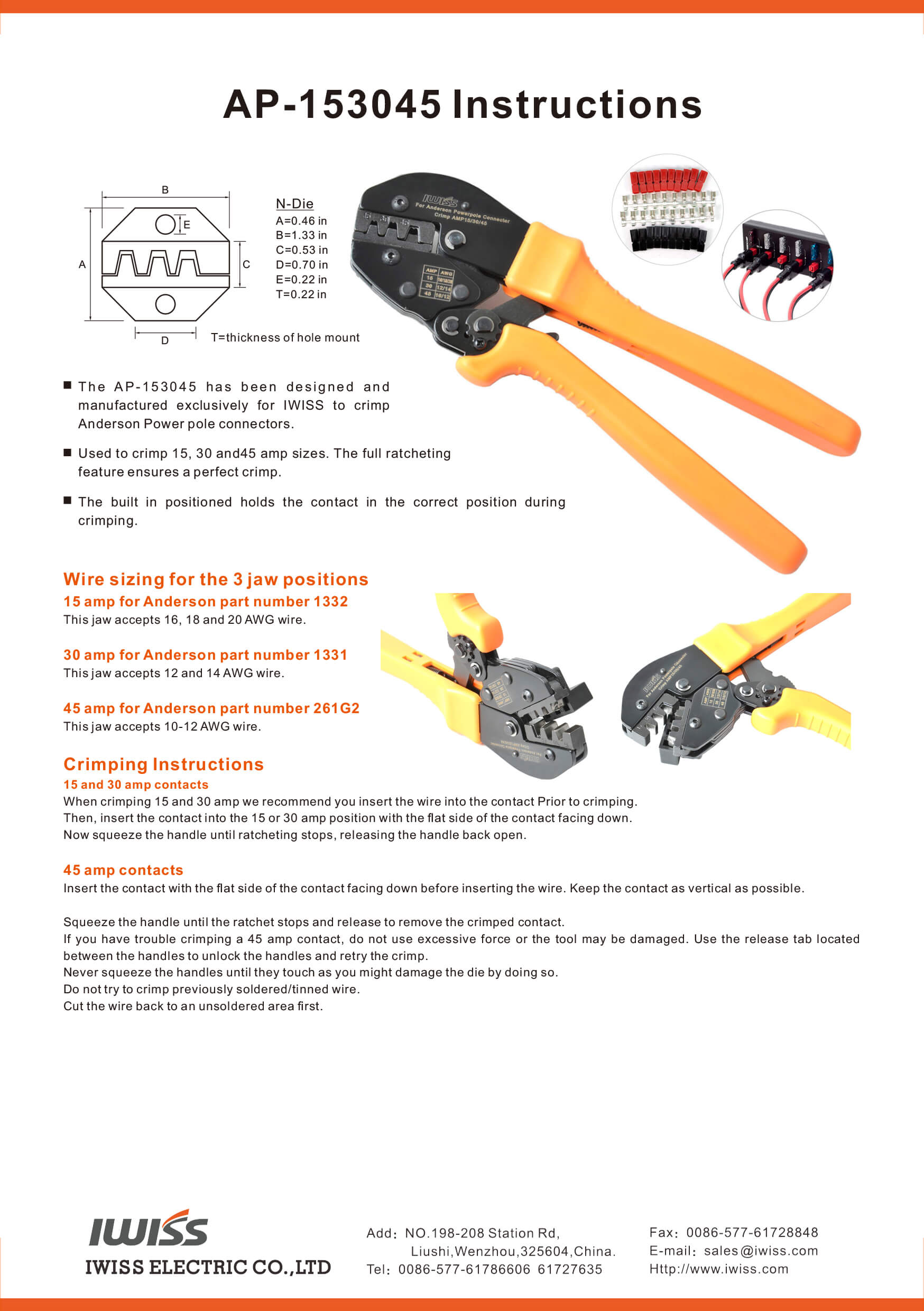 AP-153045 RATCHETING WIRE CRIMPING TOOL