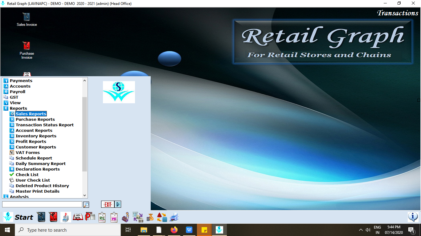 Select sales reports in retailgraph.