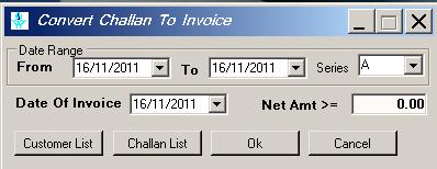 Convert challan to invoice