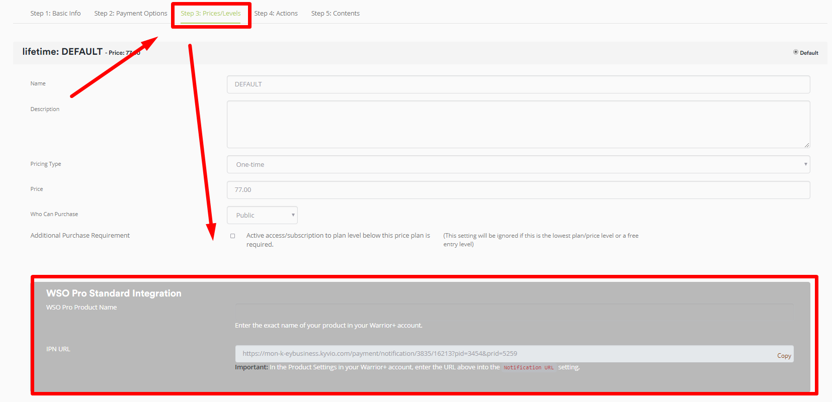 You should be able to see a form showing your integration with WSO PRO  Standard 51f39e64e