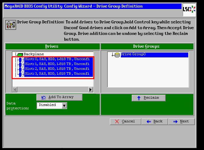 Creating a RAID 0, 1, 5 or 6 through the LSI Web BIOS