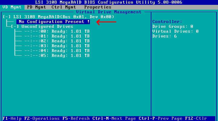 LSI 12 Gb/s MegaRAID BIOS RAID Configuration