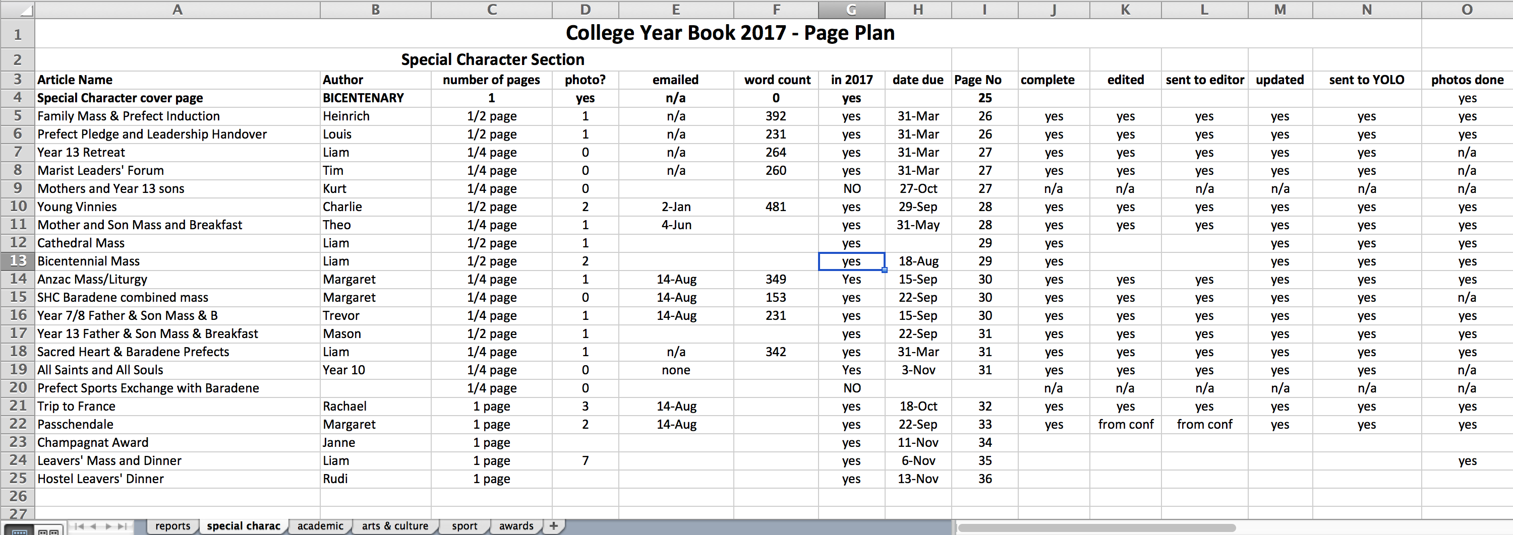 Page plan in Excel