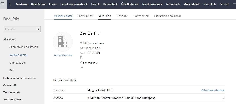 Zoho CRM Company Details