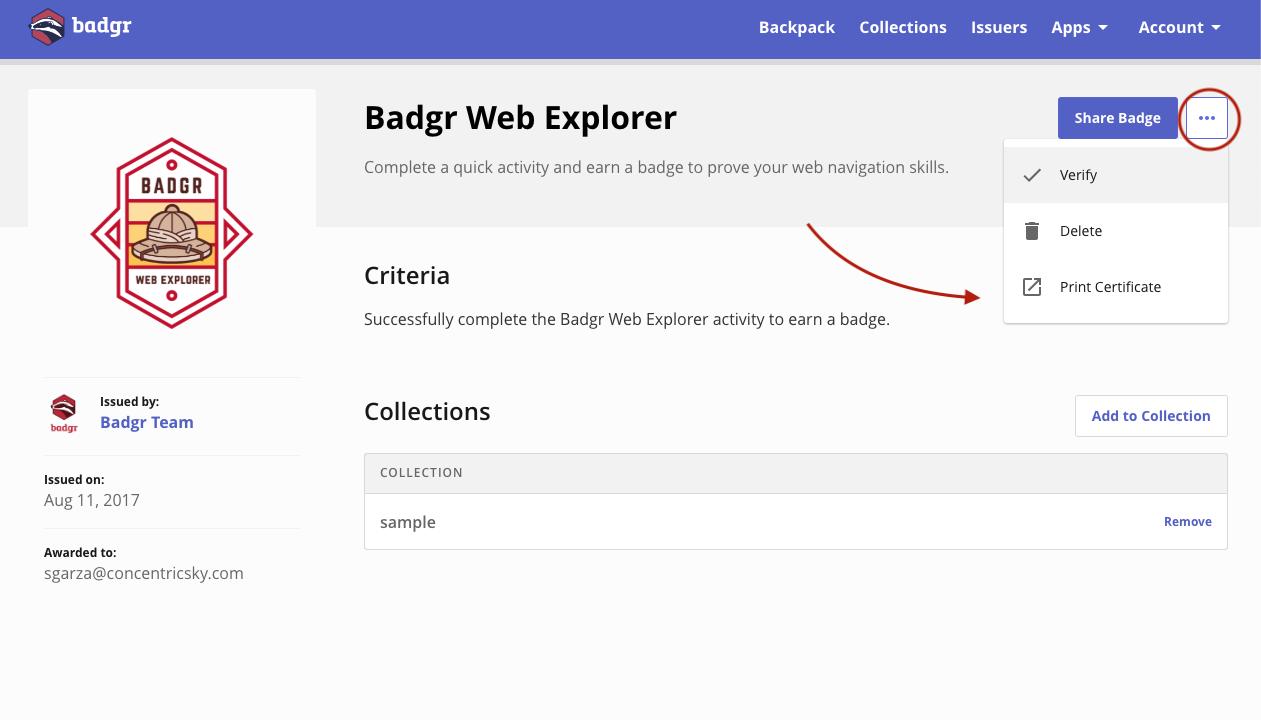 Badgr user print certificate