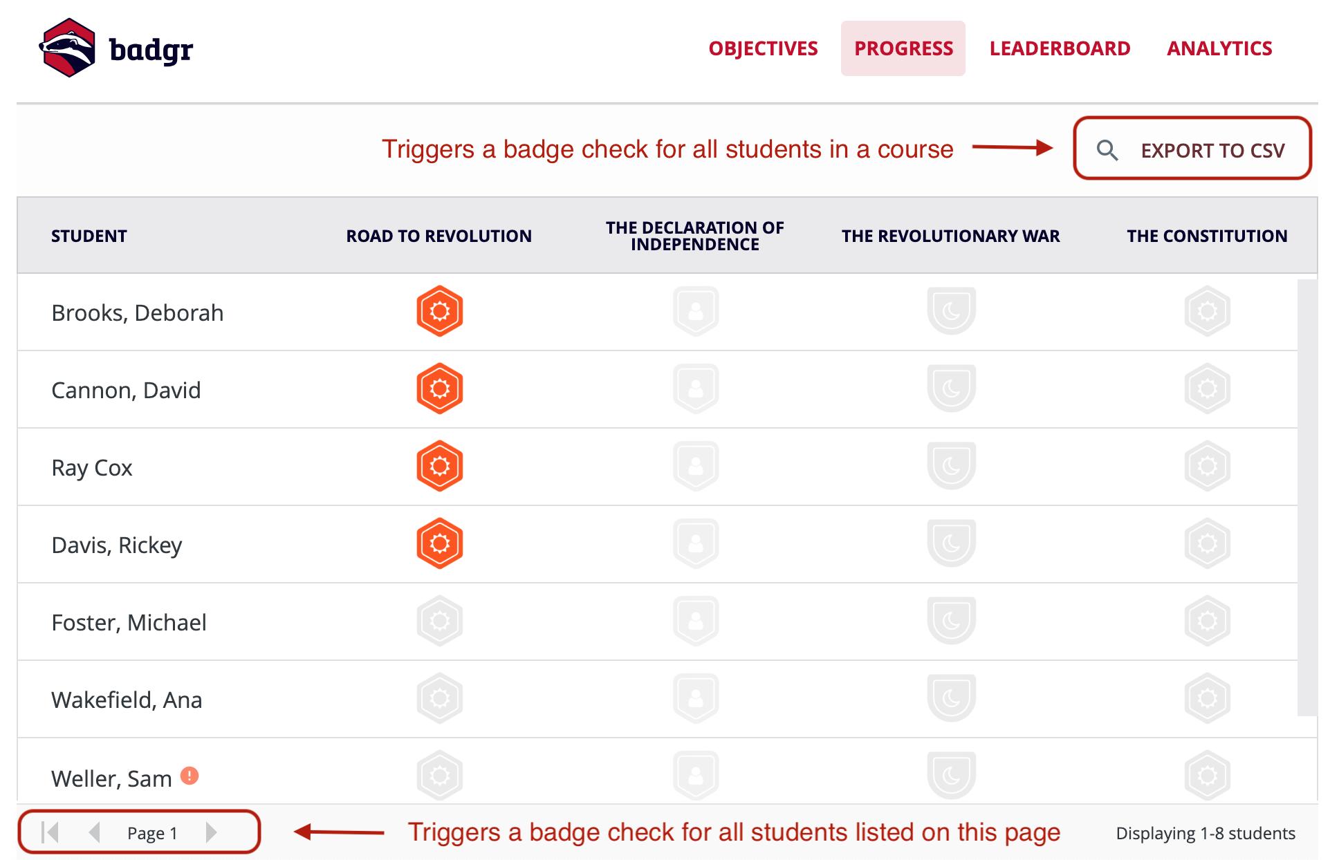 Badgr Canvas instructor progress tab