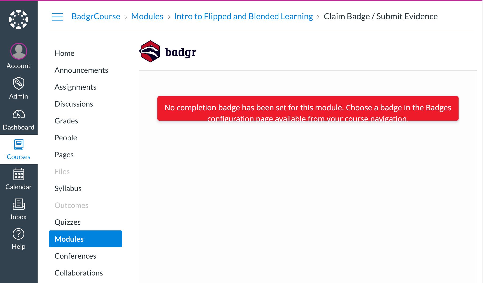 No completion badge set error message