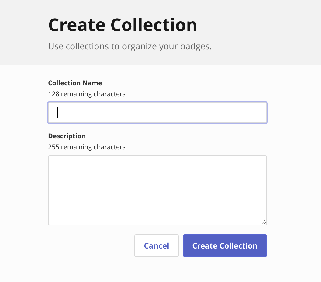 Badgr Create Collection