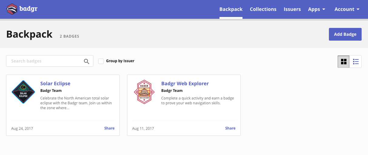 Badgr sharing badges