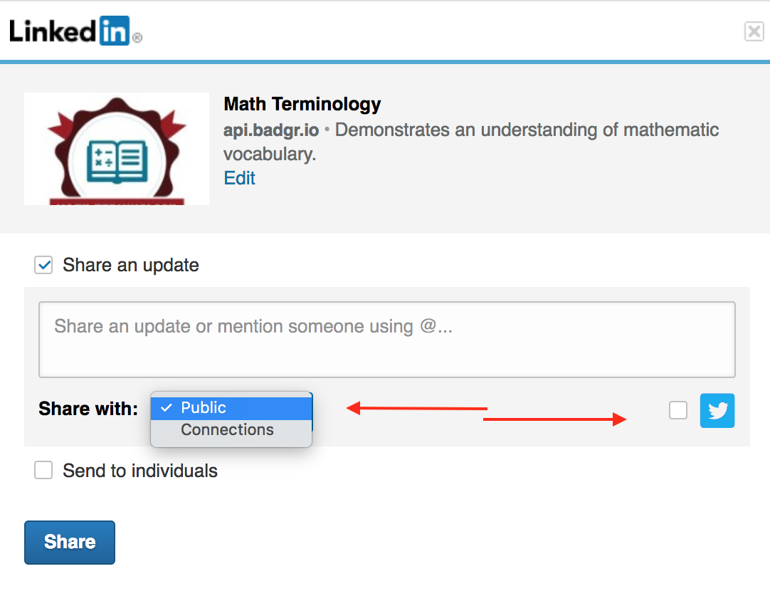 LinkedIn sending a badge to an individual