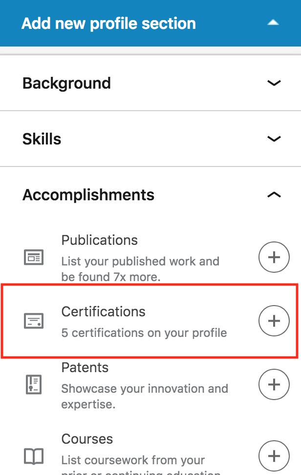 LinkedIn accomplishments menu