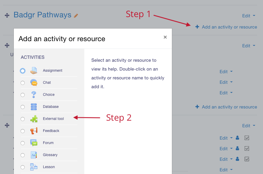 Add activity or resource