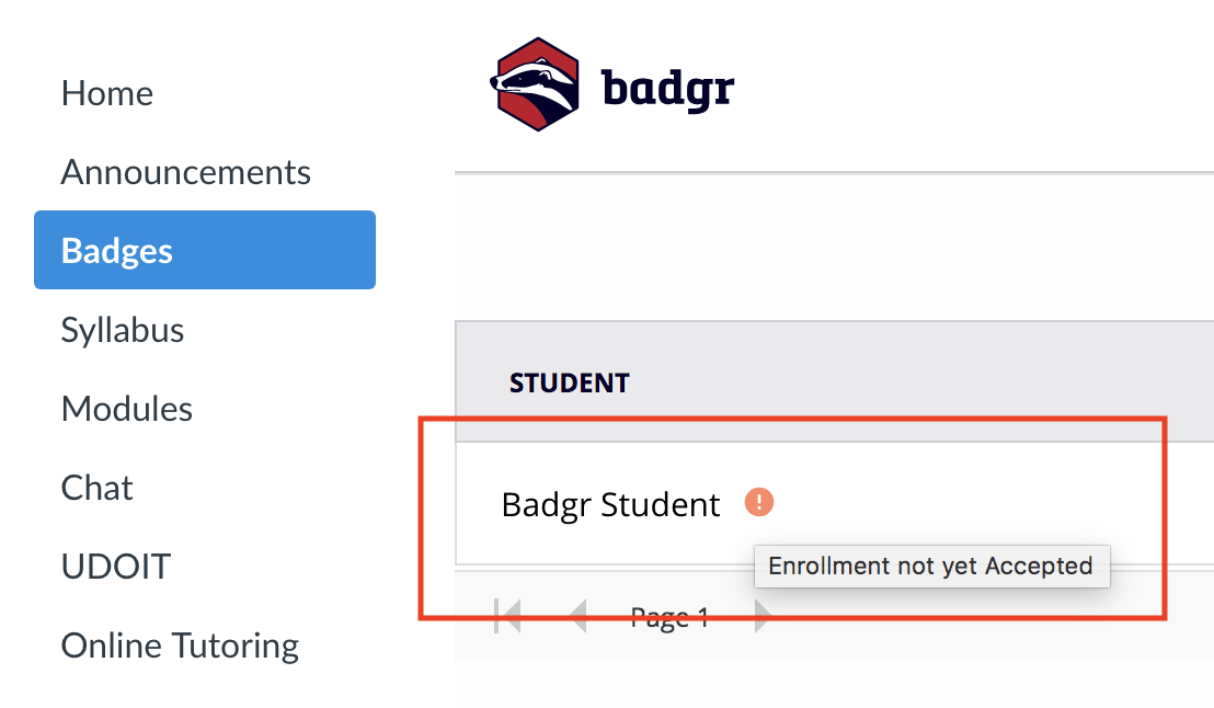 Canvas badges check student enrollment