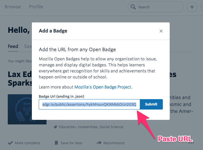 Degreed add a badge pop up