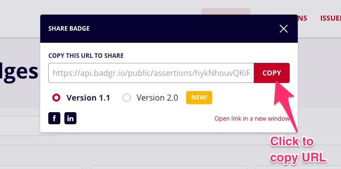 Badgr share URL pop up