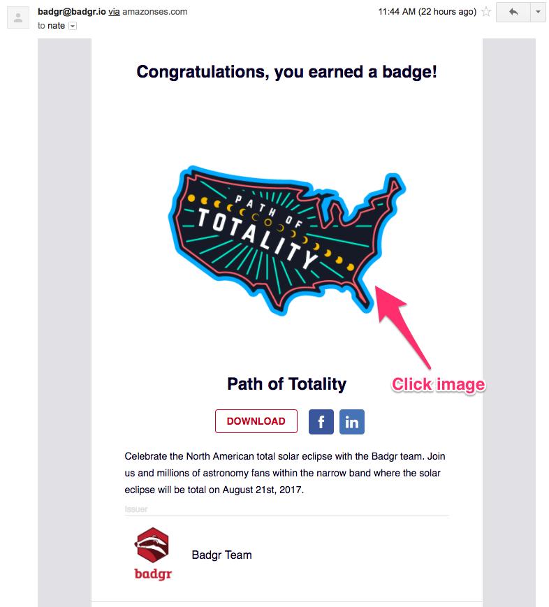 Badge award email