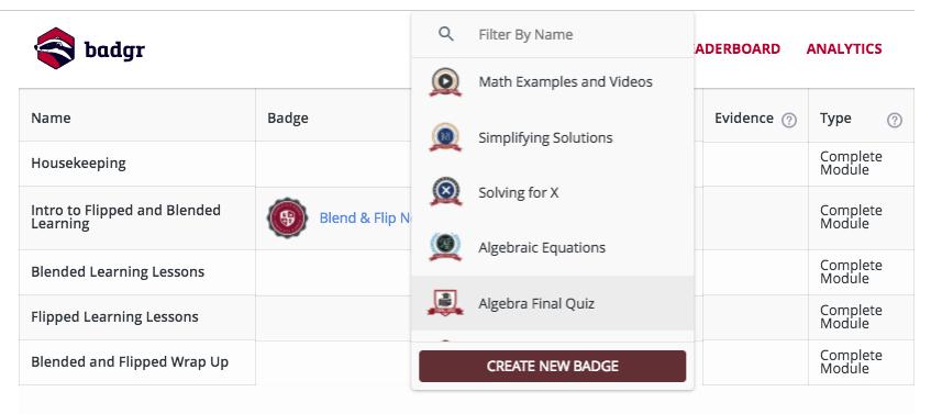 Canvas create new badge button