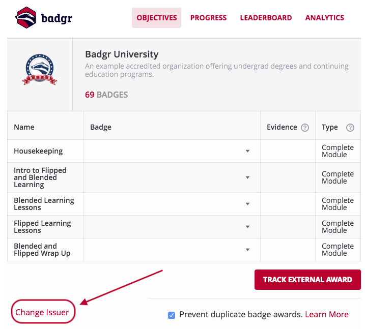 Canvas badgr objectives tab change issuer