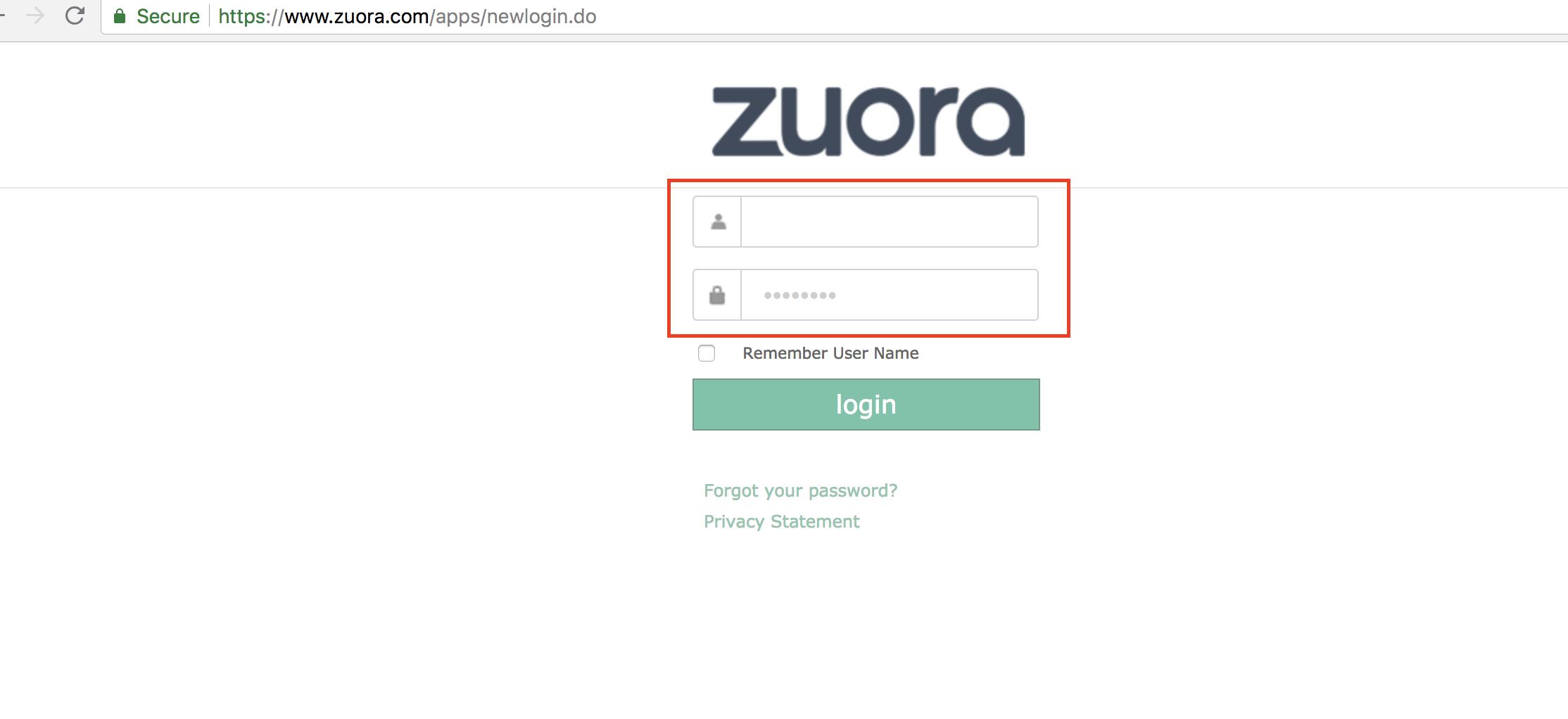 Zuora Screen