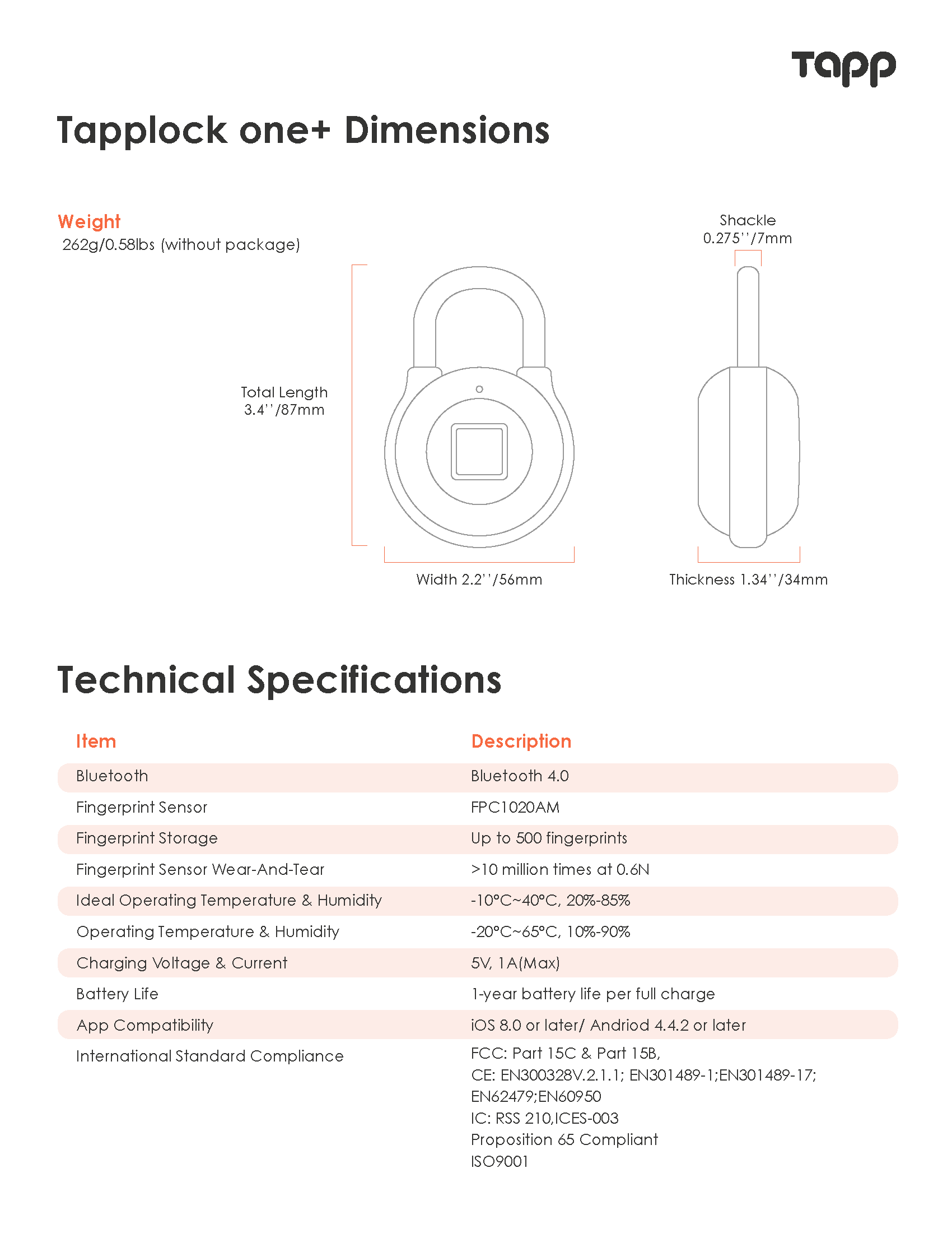 What are the product specifications of Tapplock one+?