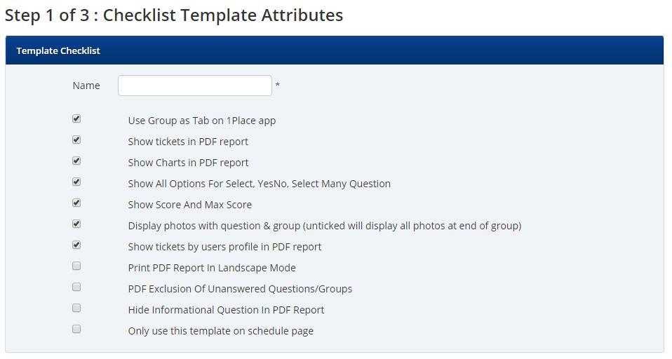 Adding a Checklist Template