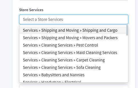 Store Services selection button