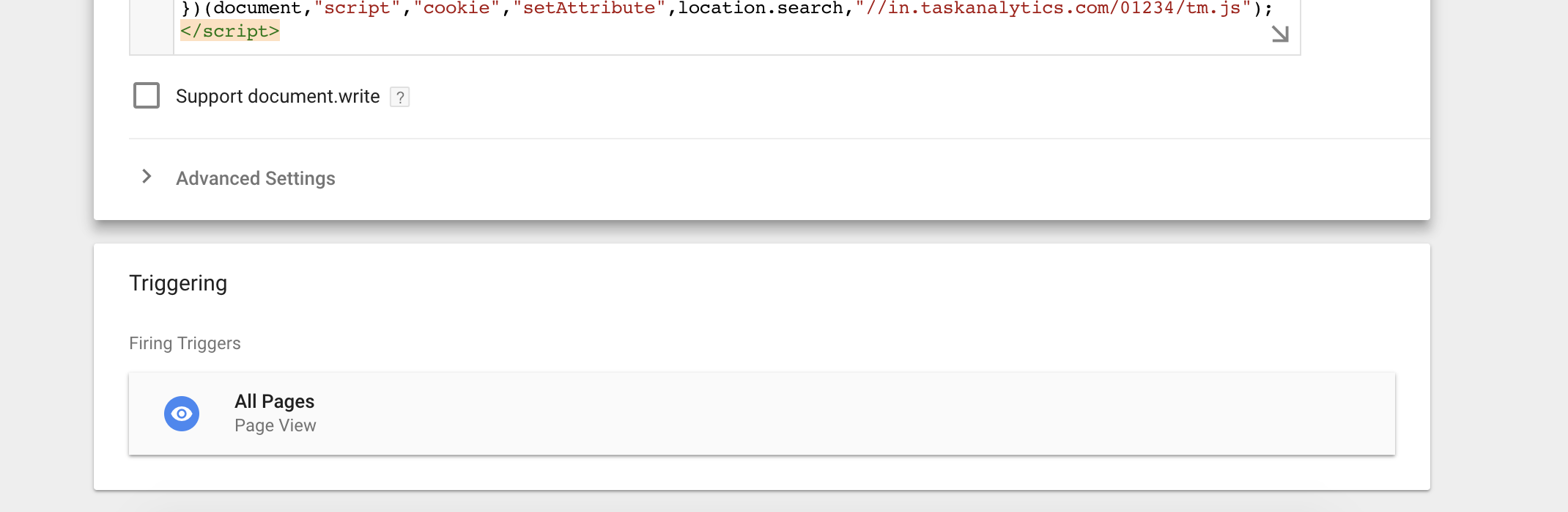 Firing trigger for Google Tag Manager