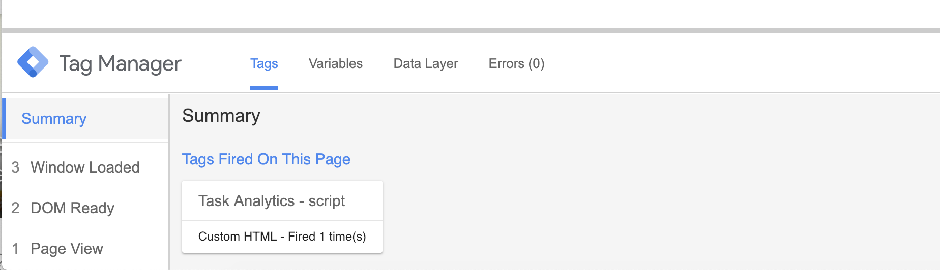 Preview modus of Google Tag Manager to check firing of Task Analytics