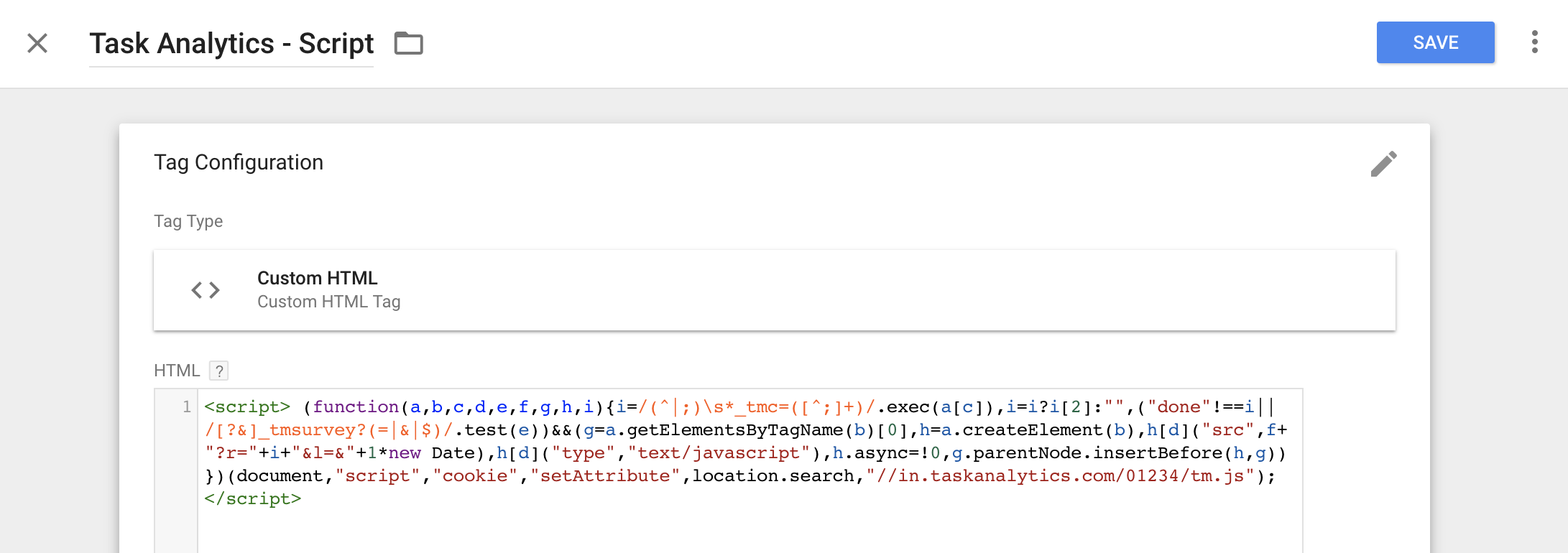 Custom HTML tag in Google Tag Manager with Task Analytics code inside