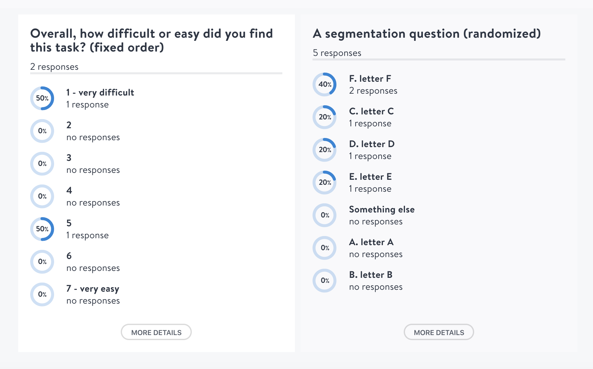 The difference in presenting a fixed order (left) and a question with answer options randomized (right)