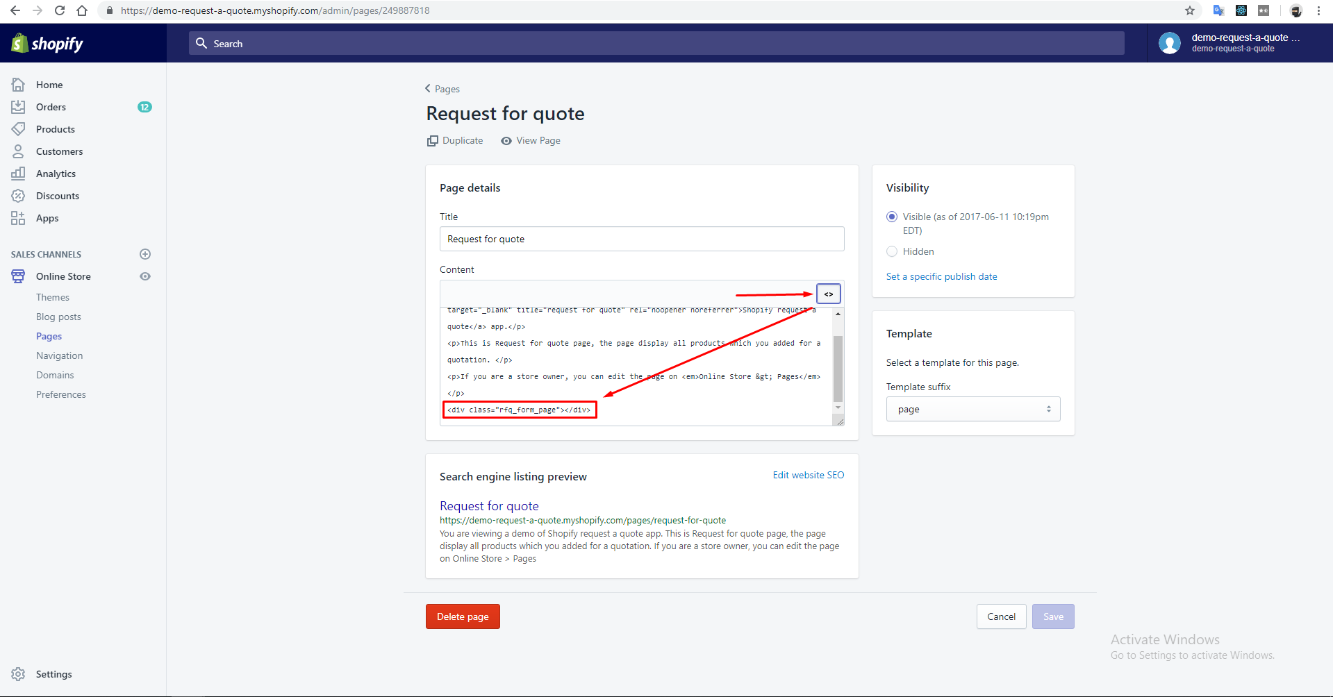 """How to edit """"Request a Quote"""" page"""