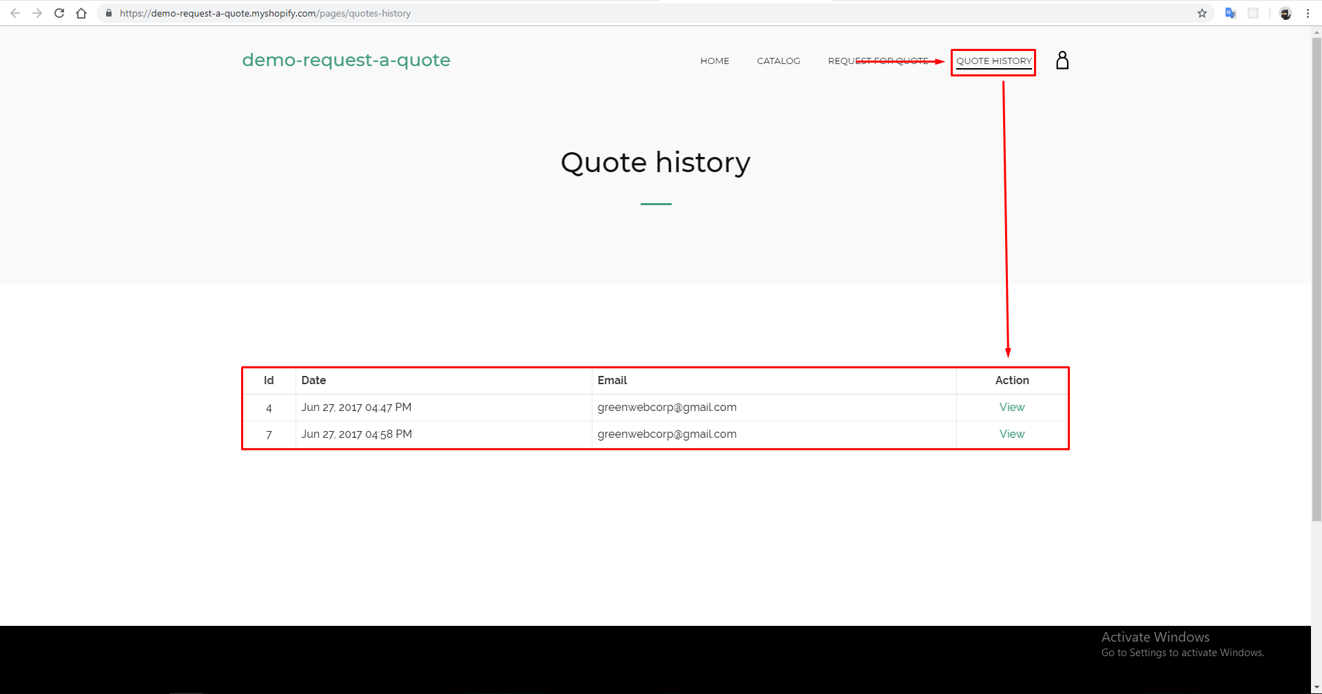 When can I view Quote History page