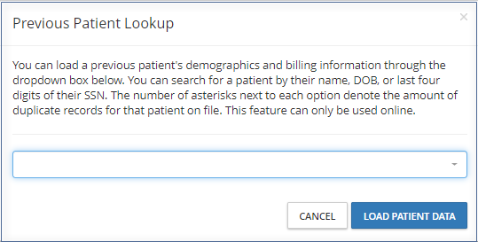 Previous Patient Lookup