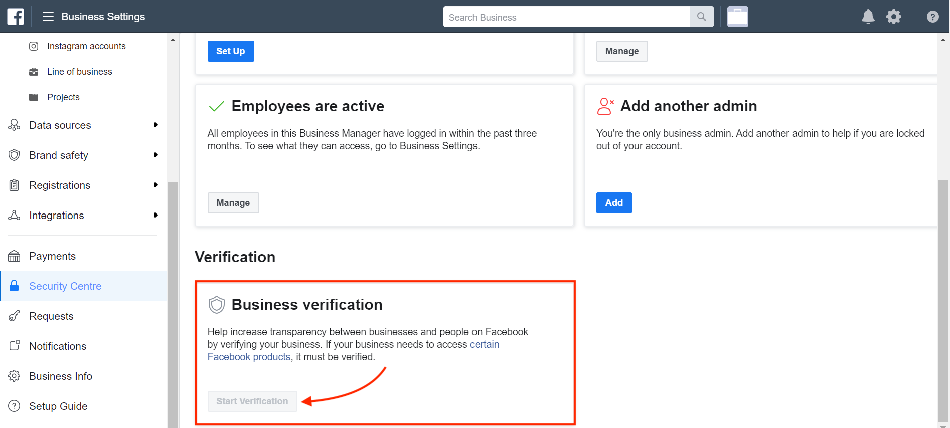 What should I do if my Business Verification button is Greyed out?