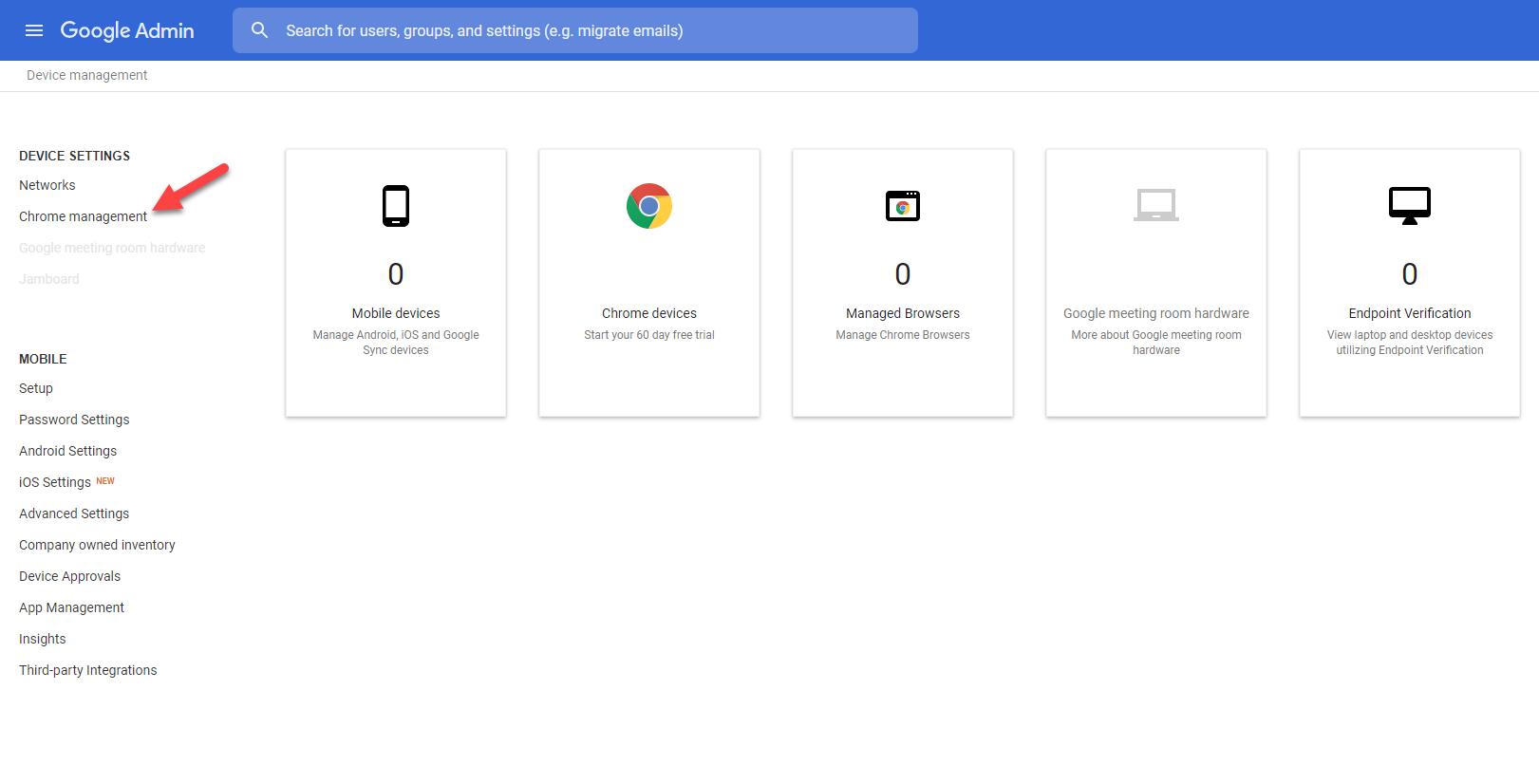 Admin console google