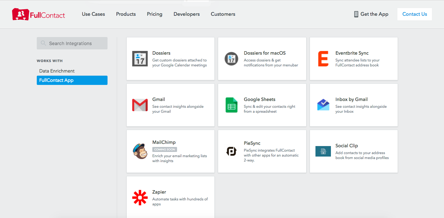 Integrations Selection Page