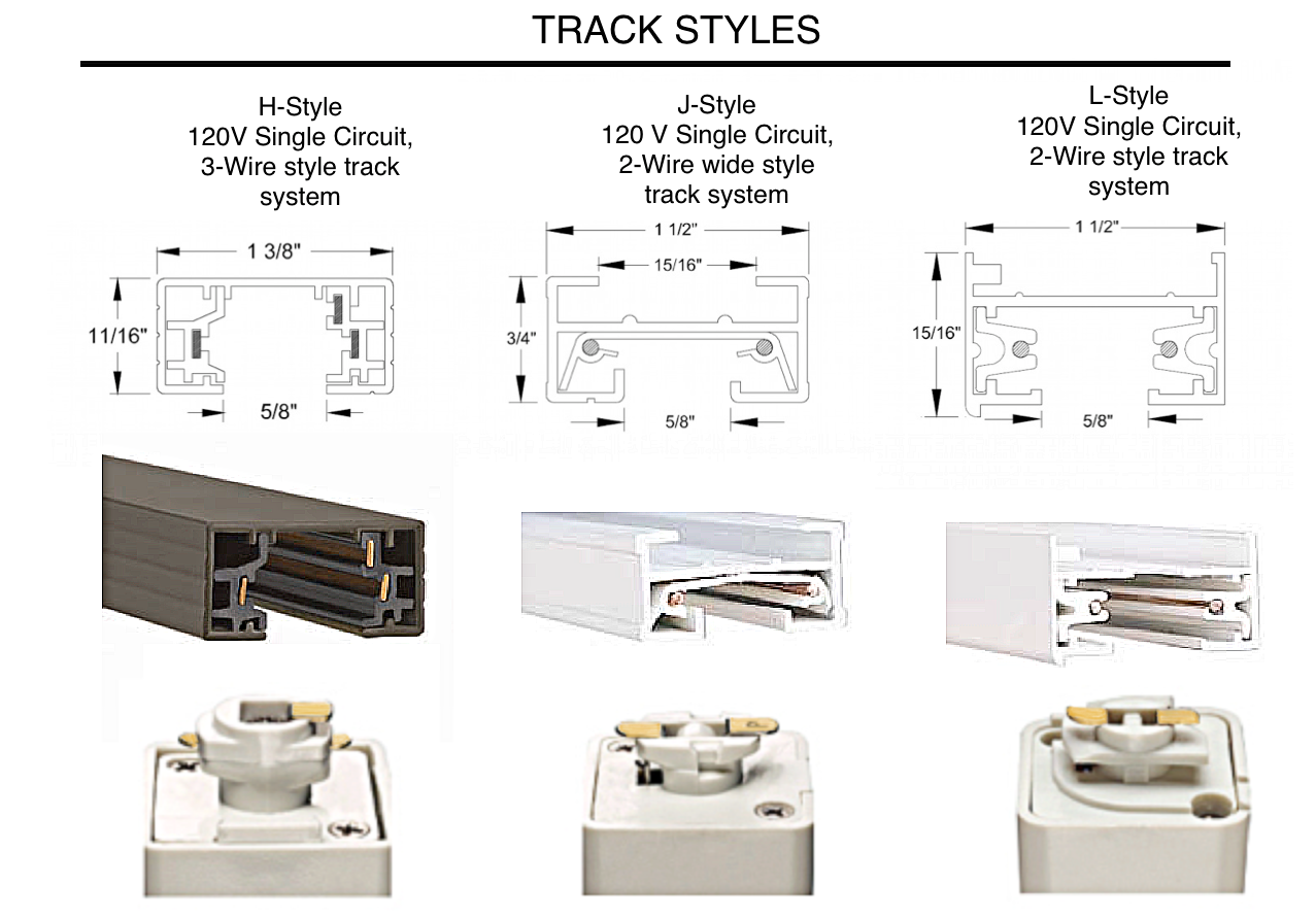 Track lighting connector styles
