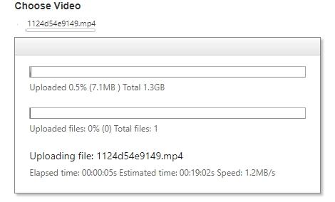 Upload video progress