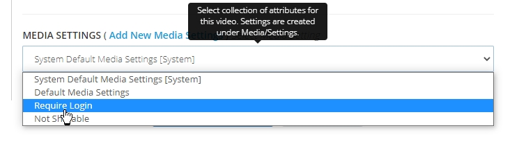 Media settings selection