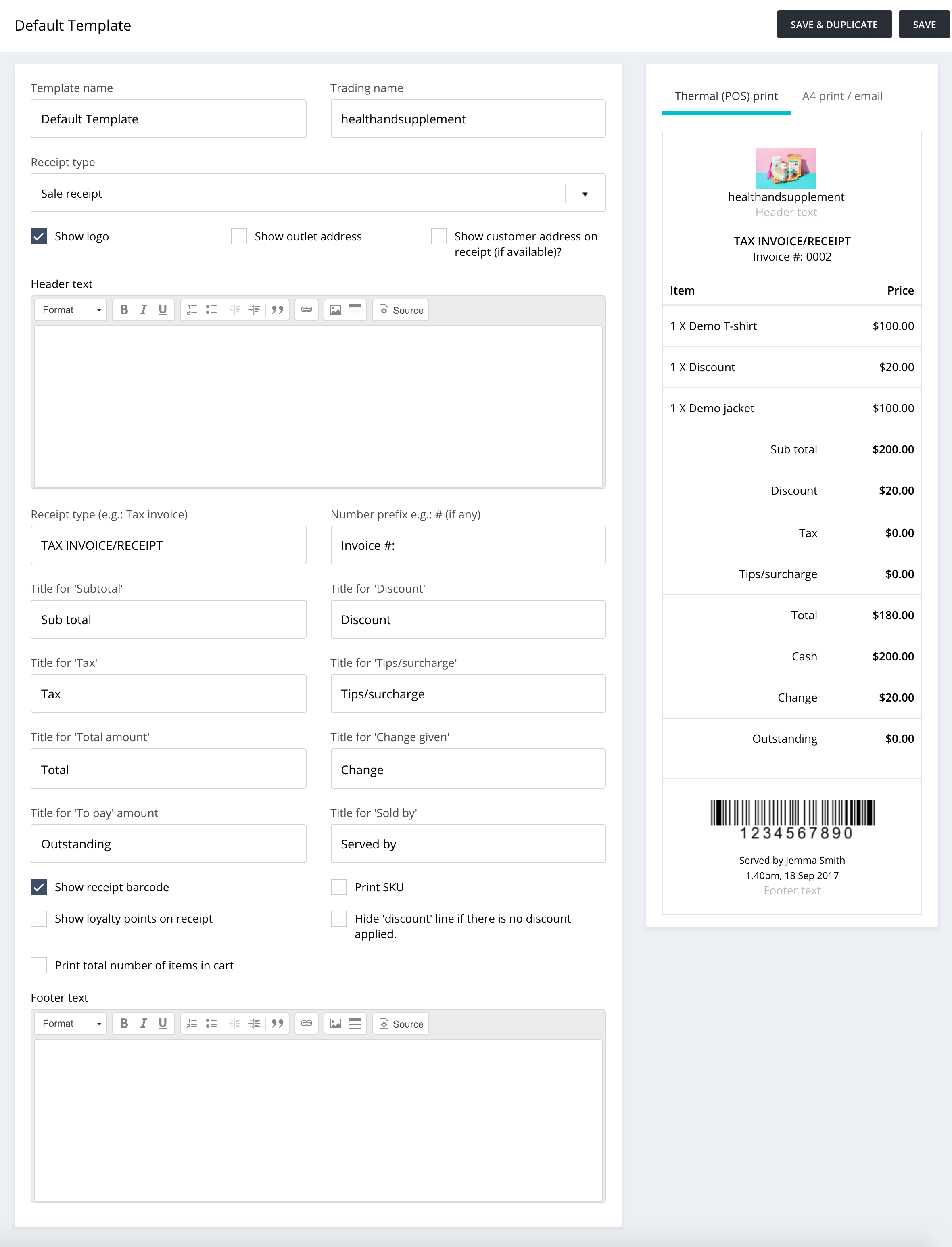 Creating Receipt Templates In Hike