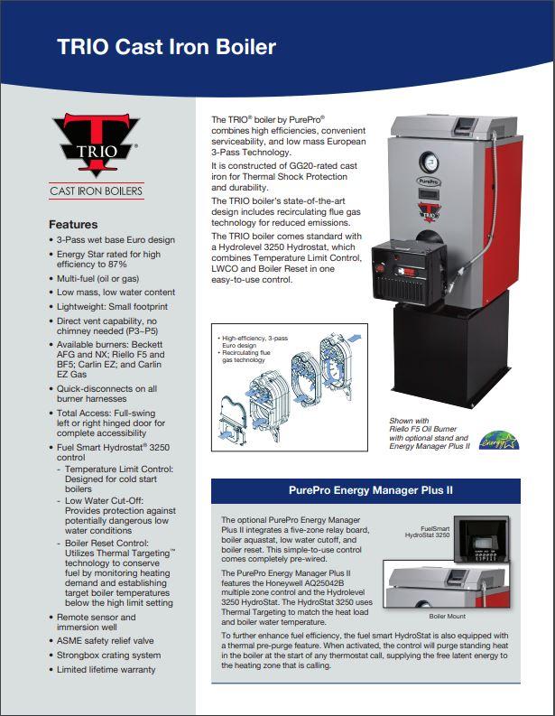 TRIO Cast Iron Boiler Cut Sheet