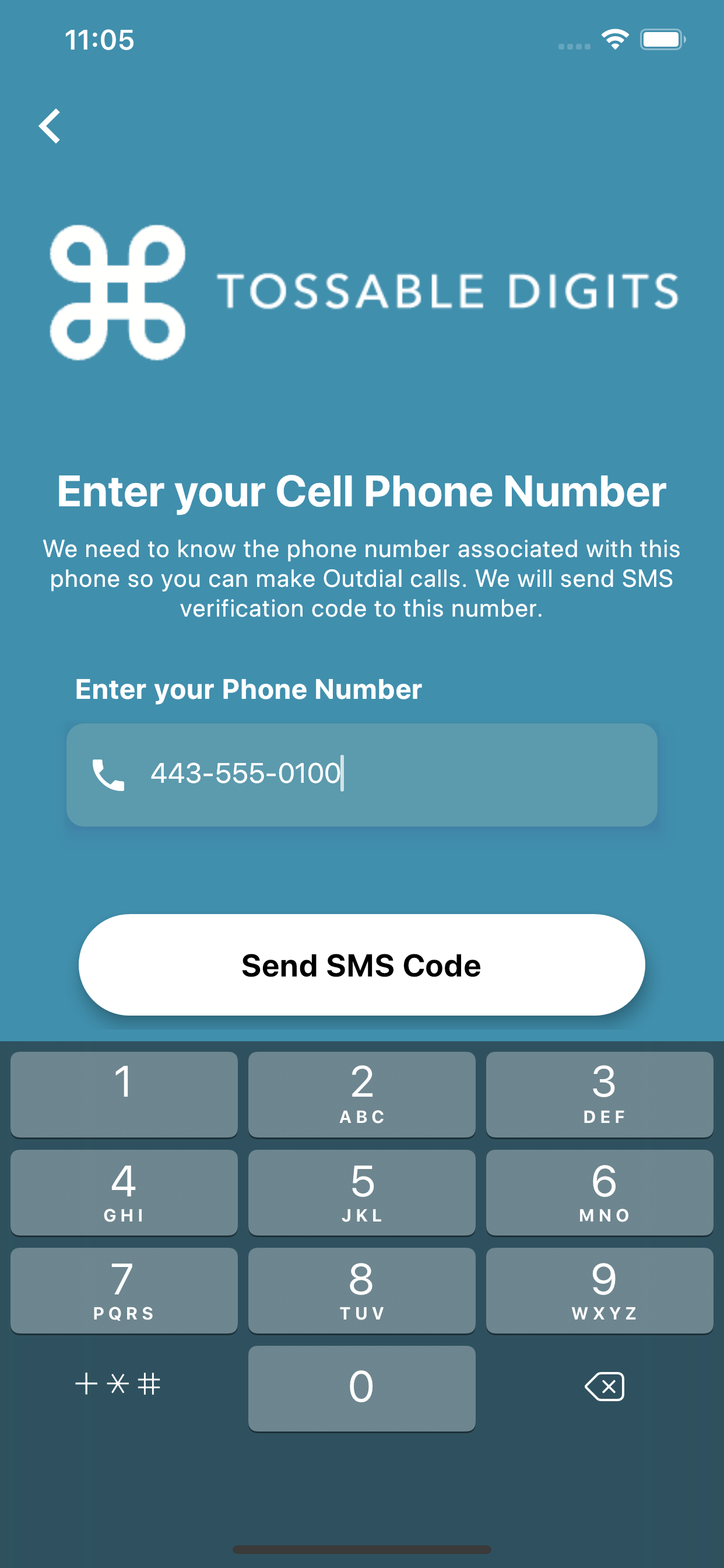 Mobile Number Verification page